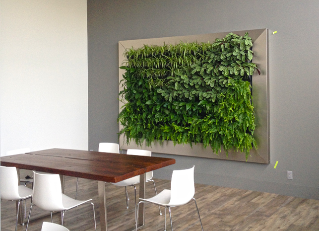 Commercial: This unique commercial design is a great meeting space for clients. It brings the outdoors in with a fully automated irrigation system.